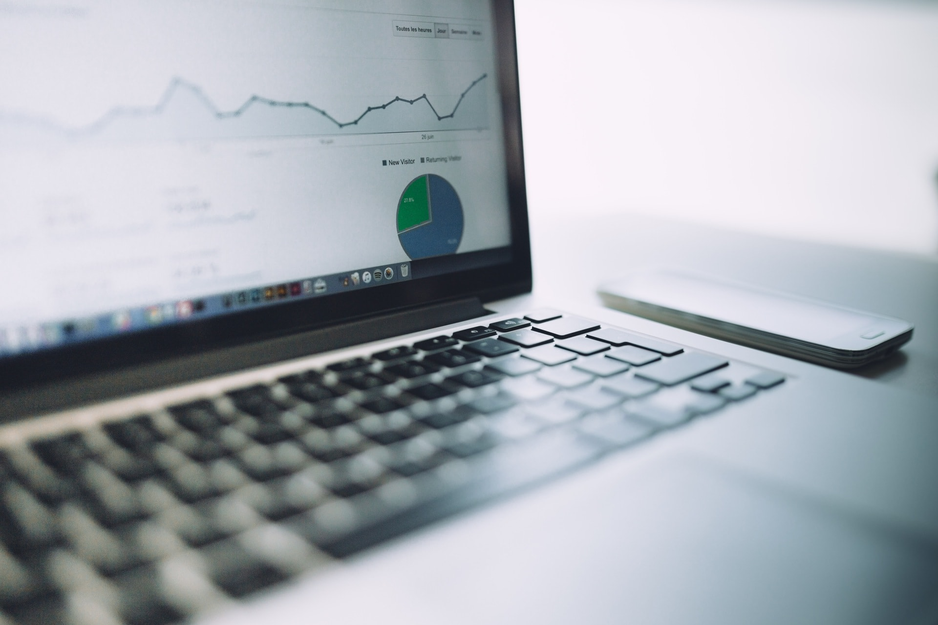 a laptop screen showing analytics for an email marketing campaign