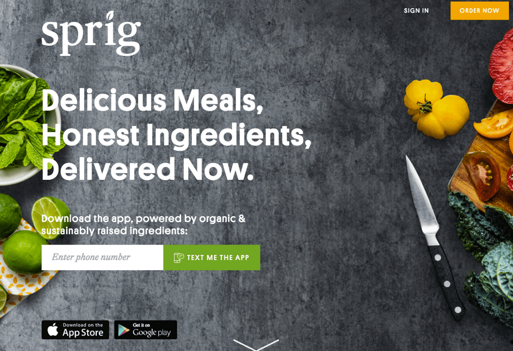 Sprig food delivery app