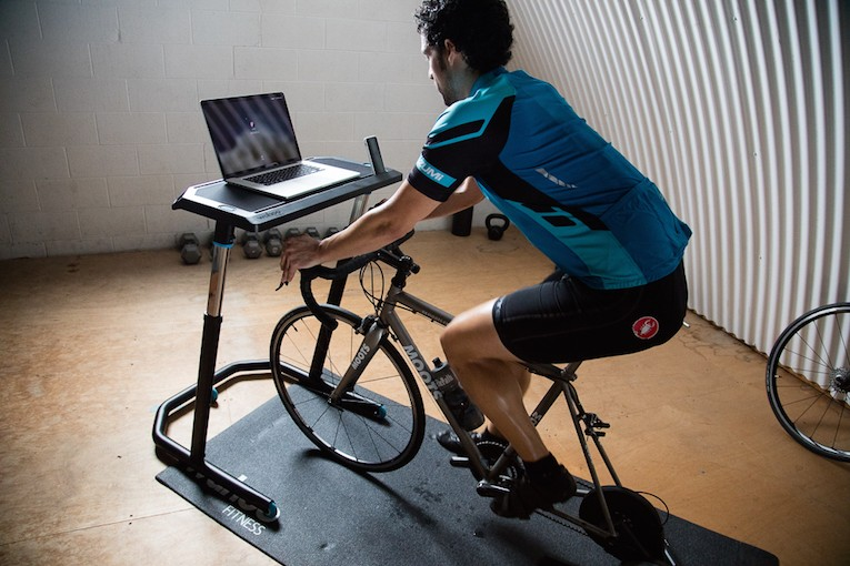 Man Working Out In The Wahoo Fitness Bike Desk